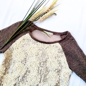 Anthropologie A'reve Textured Sequin Sweater